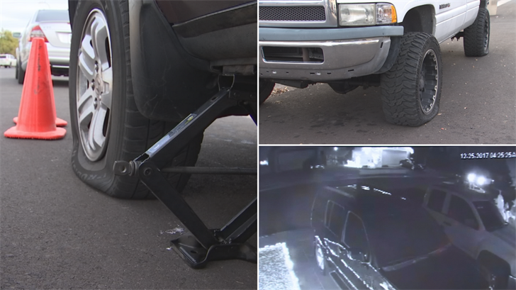 The neighbors in Glendale woke up on Christmas morning to find tires slashed on roughly 20 cars and trucks. (Source: 3TV/CBS 5)