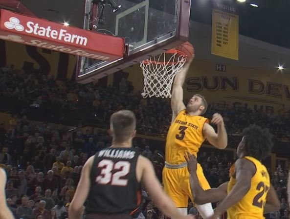 ASU sophomore Mickey Mitchell slams one home against Pacific. (Source: 3TV/CBS 5)