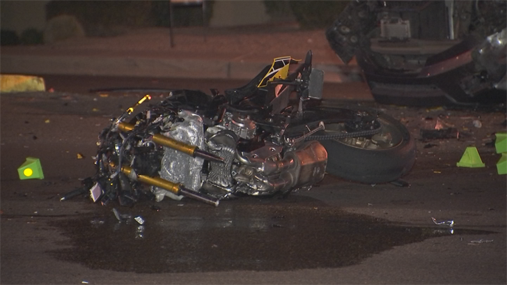 According to the Phoenix Police Department, a male motorcyclist is dead after a crash involving an SUV in Phoenix Thursday night. (Source: 3TV/CBS 5)