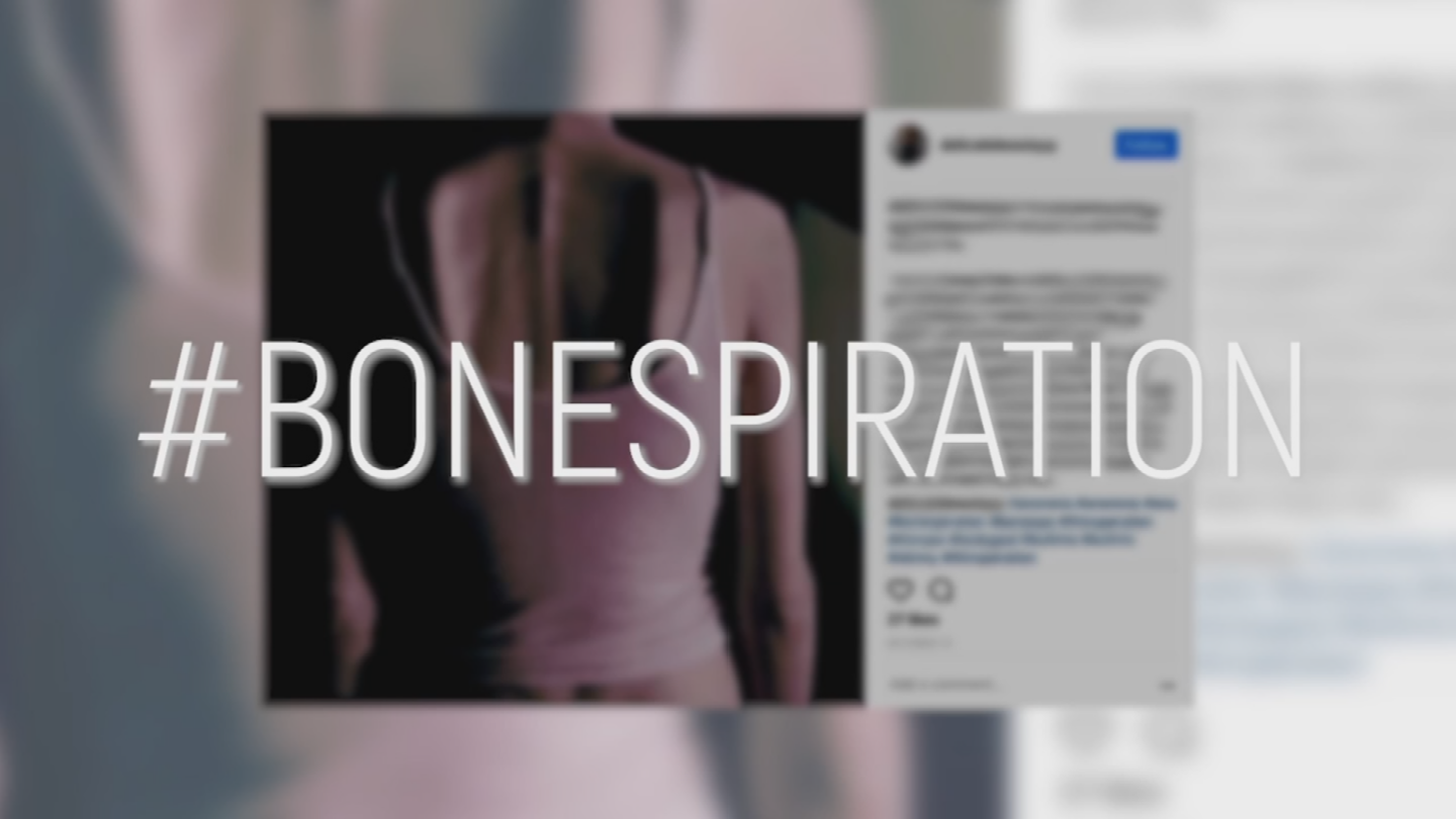 "Photos of women whose bodies look downright skeletal have hashtags like ""bonespiration,"" meant to promote being bone thin and emaciated. (Source: 3TV)"