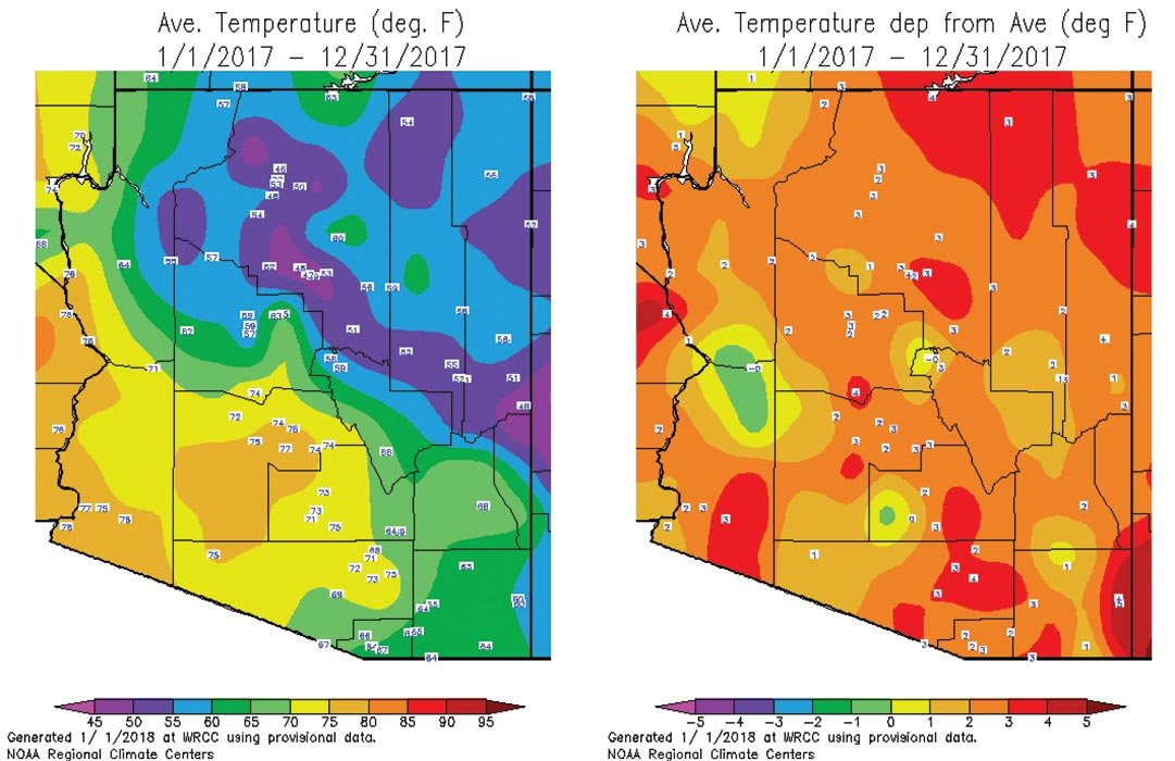 Click to enlarge: Average AZ temperature in 2017 (left) and departure from average (right). (Source: National Weather Service and Western Region Climate Center)