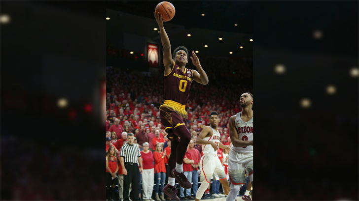 Arizona State guard Tra Holder (0) drives to the basket against Arizona during the first half of an NCAA college basketball game, Saturday, Dec. 30, 2017, in Tucson, Ariz. (Source: AP Photo/Ralph Freso)