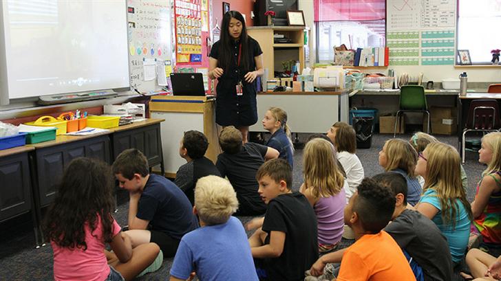 Qin Li has been teaching Mandarin Chinese at Gavilan Peak School for four years. (Source: Paola Garcia/Cronkite News)