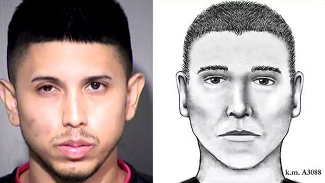 Mug shot and sketch of Aaron Saucedo. (Source: Maricopa County Sheriff's Office)