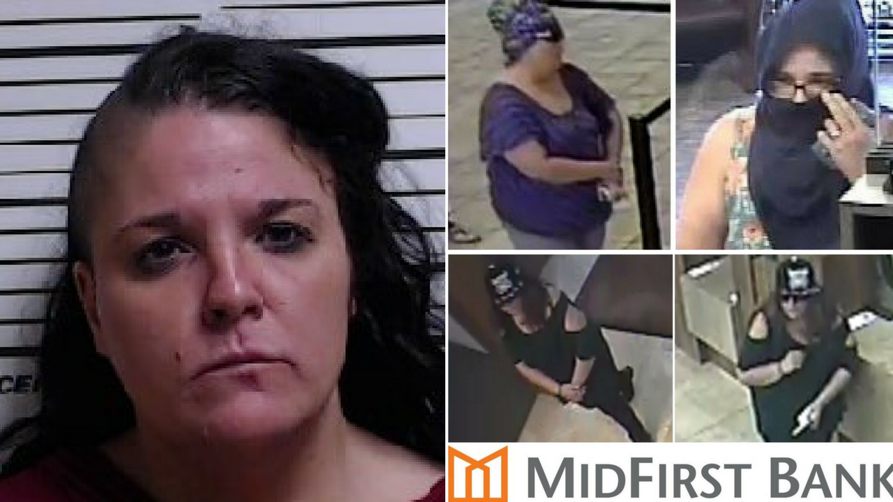 Mugshot of Miranda Maloney, left, and photos of the Grimace Bandit taken by bank surveillance cameras. (Source: Gulfport, Mississippi Police Department/Goodyear Police Department)