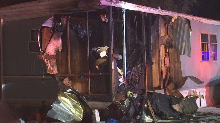According to fire officials, a family of four will be displaced after their mobile home caught fire early Thursday morning in Phoenix. (Source: 3TV/CBS 5)