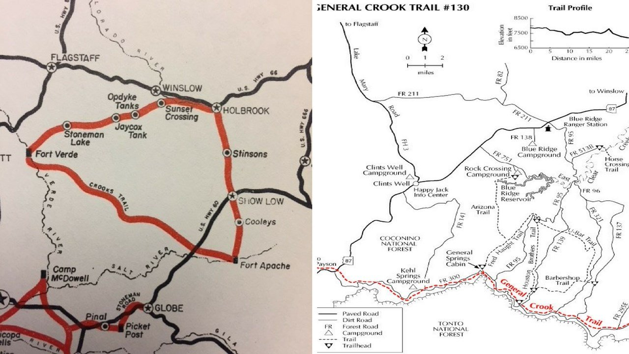 Left: Old map of Crooks Trail; Right: FR 300. 8 Jan. 2018 (Source: Vanished Arizona, Tonto Nat. Forest)