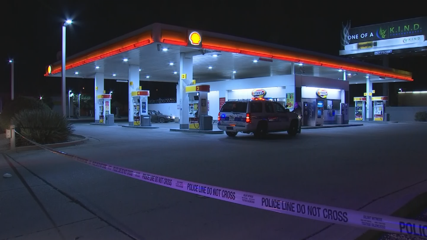 Police found the 25-year-old man inside his vehicle with a gunshot wound to the head at a Shell gas station near 24th and Van Buren streets. (Source: 3TV/CBS 5)