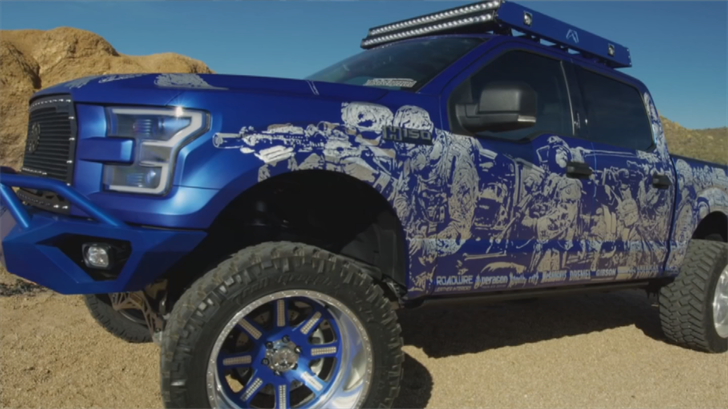 "The truck called ""Freedom Blues"" features engraved artwork on it of soldiers. (Source: 3TV/CBS 5)"