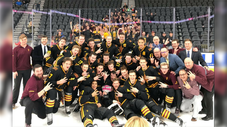 ASU hockey celebrates its first tournament title with a win over Michigan Tech in Las Vegas. (Source: thesundevils.com)