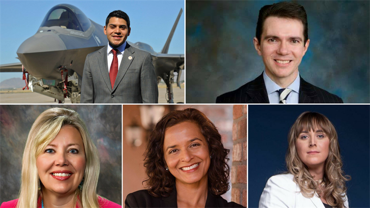 Steve Montenegro, top left, Bob Stump, top right, Brianna Westbrook, bottom right, Dr. Hiral Tipirneni, bottom middle, and Debbie Lesko, bottom left, are running for Congressional District 8. (Source: Facebook)