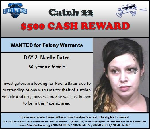 Noelle Bates, 30, wanted for drug possession and possession of a stolen car. (Source: Phoenix Police Department/Silent Witness)