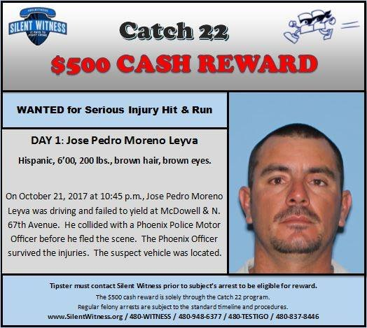 Jose Pedro Moreno Leyva, 39, wanted for serious injury hit and run. (Source: Phoenix Police Department/Silent Witness)