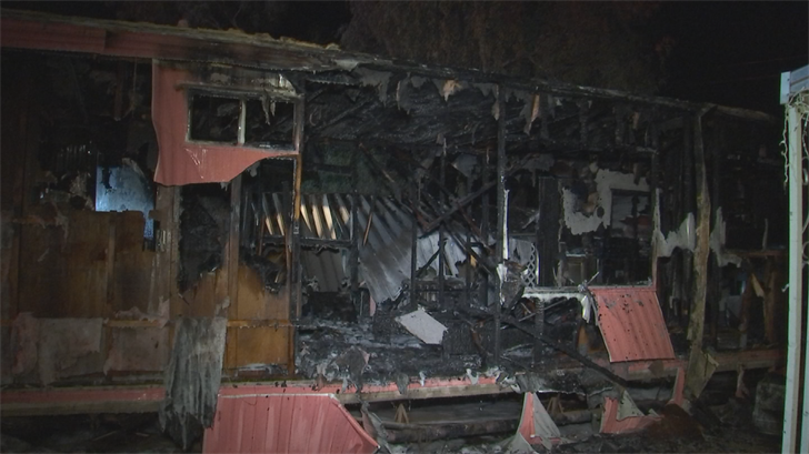 Alate night fire completely destroyed a mobile home in Phoenix leaving one woman displaced Thursday, according to fire officials. (Source: 3TV/CBS 5)