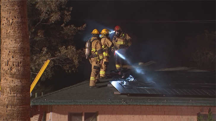 According to fire officials, four adults will be displaced after a fire ravaged their home early Friday morning in Phoenix. (Source: 3TV/CBS 5)