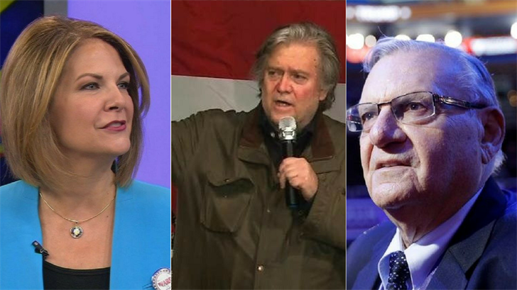 Arizona Senate candidate Kelli Ward, a Republican, distanced herself Thursday from former White House chief strategist Steve Bannon and her primary opponent, controversial former Sheriff Joe Arpaio. (Source: 3TV/CBS 5/AP)