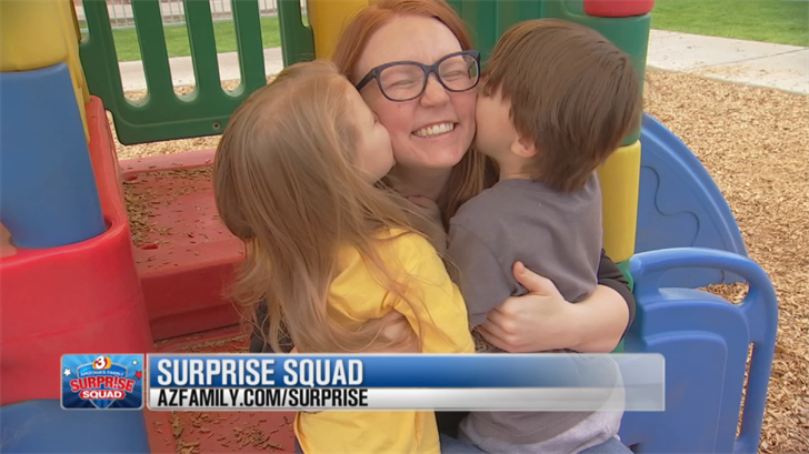 3TV anchor Nicole Crites with Arizona's Family Surprise Squad surprised Shealynn at her home with some help from Ear Foundation AZ. (Source: 3TV/CBS 5)