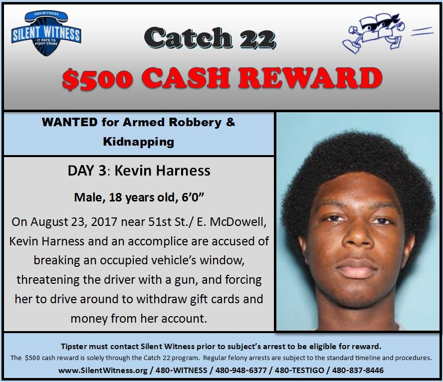 Kevin Harness, 18, is wanted for armed robbery and kidnapping. (Source: Silent Witness)