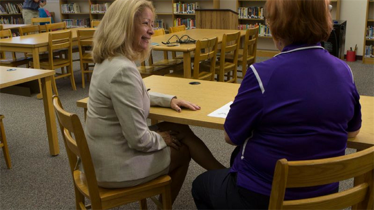 Nora Gutierrez, Tolleson Union High School District superintendent, left, said training helped her plan and organize an 100-day plan for the district. (Photo by Paola Garcia/Cronkite News)