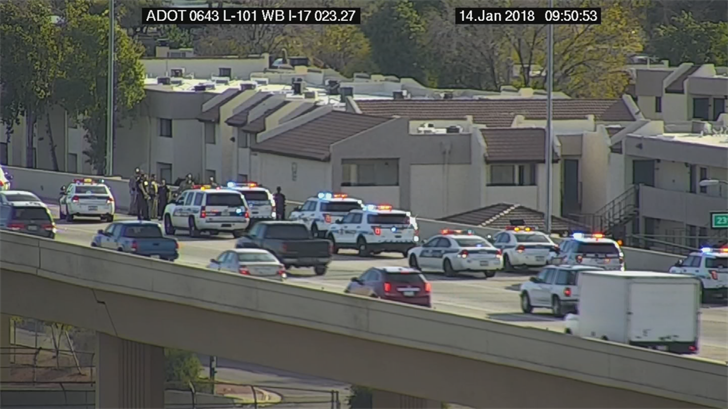 "Police said the woman was ""in crisis"" while at the overpass at the Loop 101 and 23rd Avenue. (Source: ADOT)"
