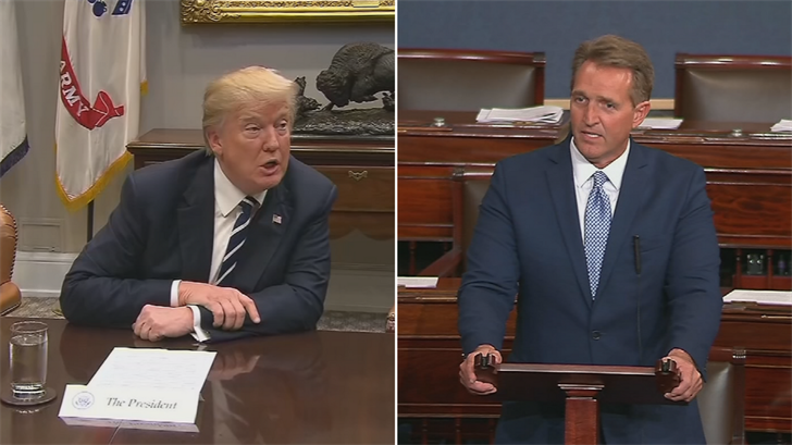 Sen. Jeff Flake, right, is expected to compare the remarks of President Trump, left, to statements from Soviet dictator Joseph Stalin. (Source: CNN)