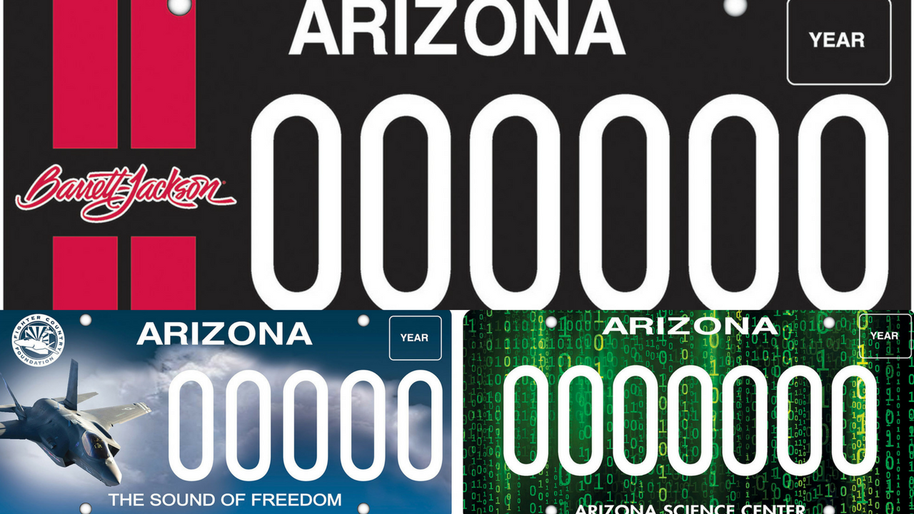 The sound of freedom over the West Valley, classic cars and the wonders of science and technology are celebrated in the newest batch of Arizona Department of Transportation Motor Vehicle Division specialty license plates. (Source: ADOT)