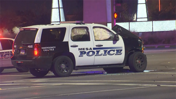 The accident has closed the intersection of Dobson Road and Southern Avenue in Mesa while police investigate. (Source: 3TV/CBS 5)