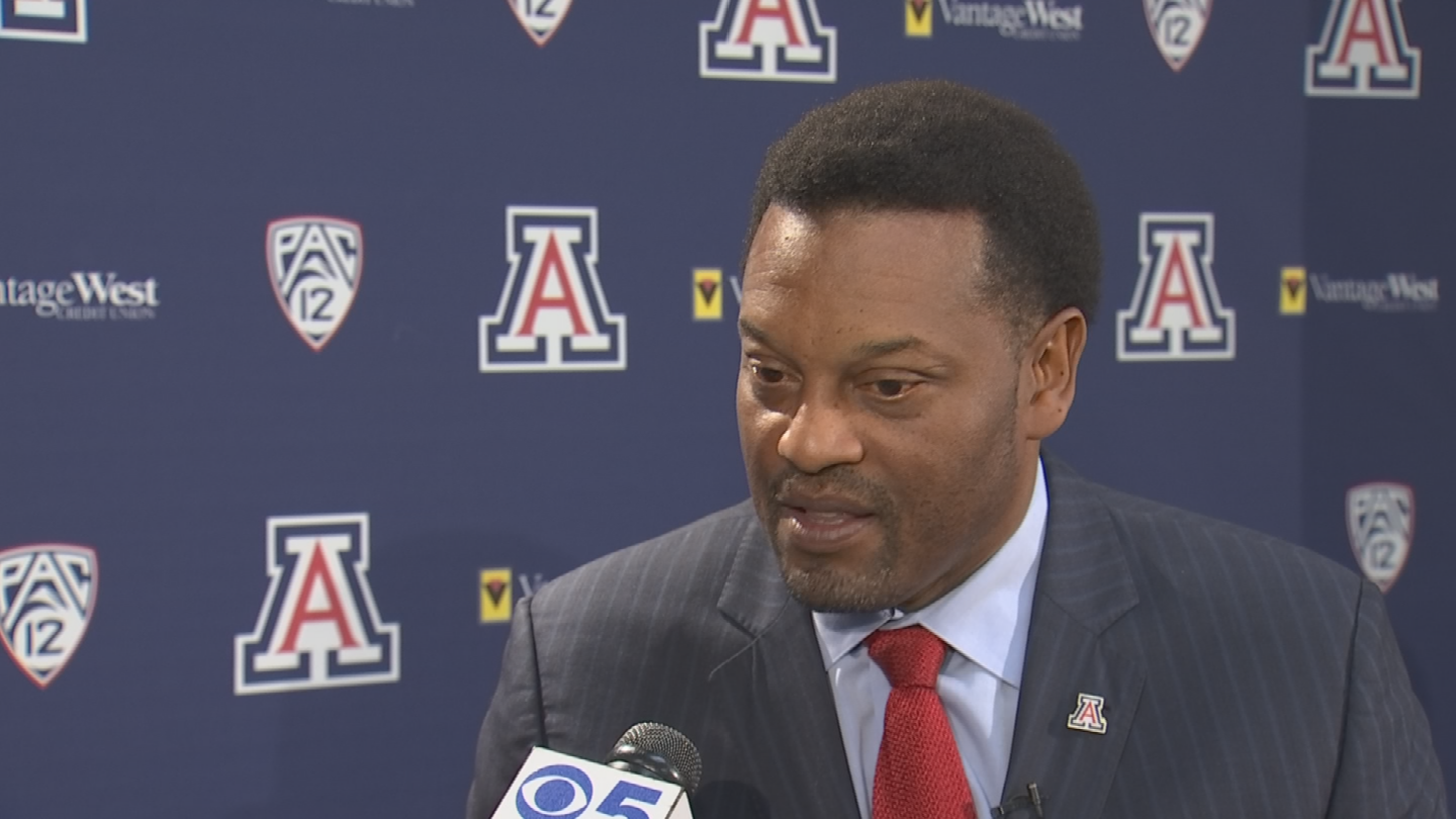 "Kevin Sumlin calls the head coaching job at Arizona ""the right place and the right challenge."" (Source: 3TV/CBS 5)"