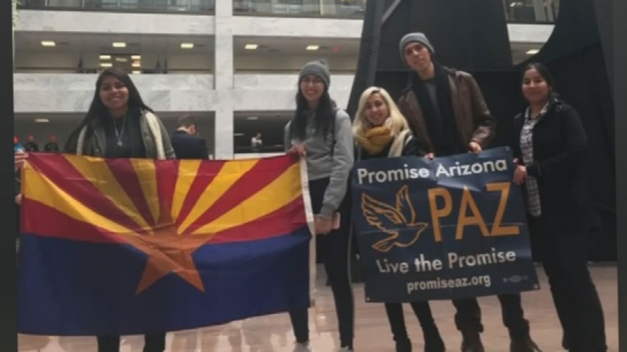 "Promise Arizona sent a group of so-called ""Dreamers"" to Washington, D.C. to fight for a renewal of DACA. (Source: 3TV/CBS 5)"