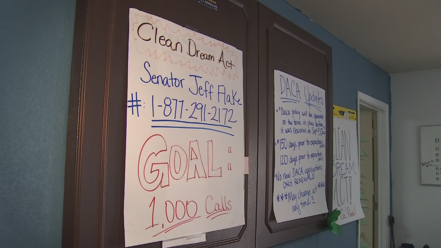 Volunteers ran a phone bank Tuesday urging 1,000 people to call Sen. Flake's office and urge him to support a clean Dream Act.(Source: 3TV/CBS 5)
