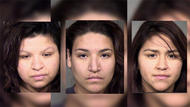 In the days following the shooting, Desaree Coronado, far right, Griselda Vasquez, middle, and Liliana Vasquez, left, were arrested on charges of hindering prosecution and tampering with evidence. (Source: Maricopa County Sheriff's Office)