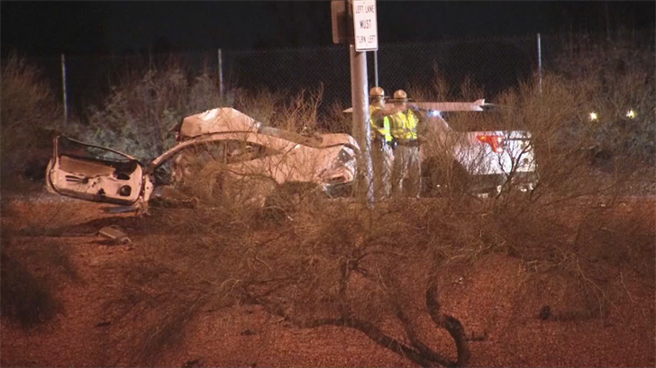 The Arizona Department of Public Safety is investigating a fatal accident on a southbound Loop 101 off-ramp in Phoenix early Friday morning. (Source: 3TV/CBS 5)