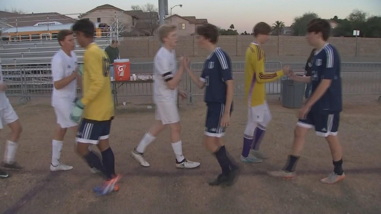 Arizona Interscholastic Association soccer players shake hands after a game. 19 Jan. 2018 (Source: 3TV/CBS 5 News)
