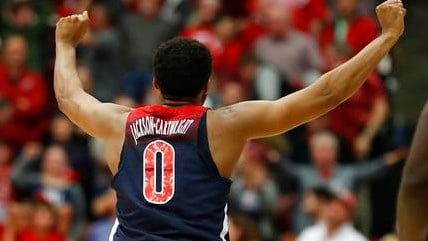 Arizona guard Parker Jackson-Cartwright (0) celebrates after a victory against Stanford in an NCAA college basketball game Saturday, Jan. 20, 2018, in Stanford, Calif. (Source: AP Photo/Tony Avelar)
