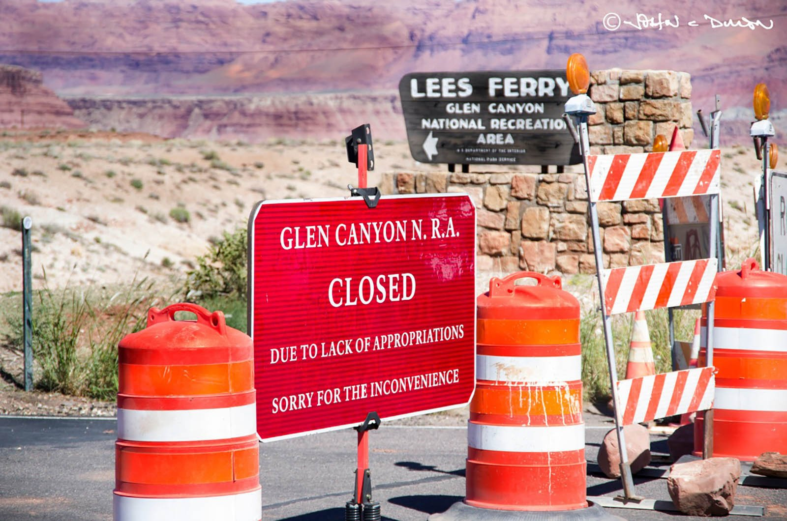 This was the scene at national parks during the October 2013 shutdown of the federal government.(Source: John Dille/Grand Canyon River Outfitters Association)