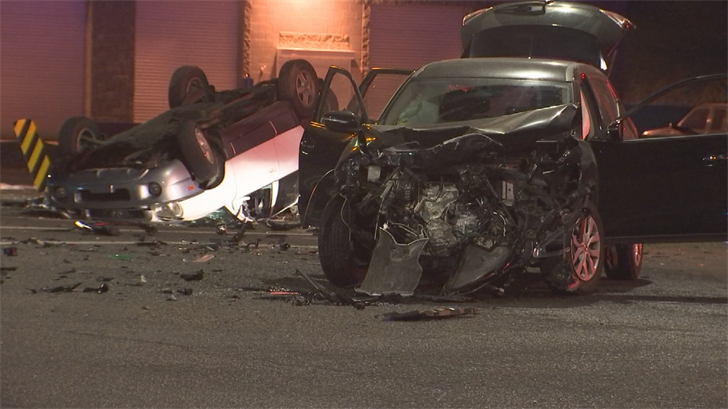 Four people were hurt after a rollover crash in Glendale on Monday, according to police. (Source: 3TV/CBS 5)