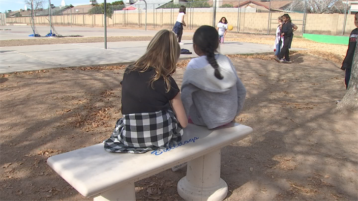 Vicki Hunt bought Buddy Benches for five Title I elementary schools in the Peoria School District. (Source: 3TV/CBS 5)