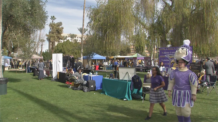 Hundreds of people gathered at the State Capitol to promote school choice. (Source: 3TV/CBS 5)