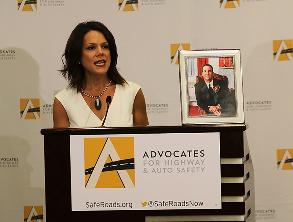 Melissa Wandall, president of the National Coalition of Safer Roads, said the highway safety report should serve as a wake-up call to lawmakers to adopt the laws outlined in the report. (Source: Kyley Schultz/Cronkite News)
