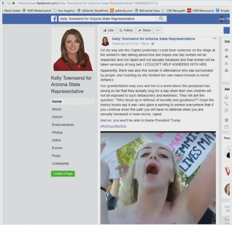 She made the controversial statement on Facebook after seeing a topless woman at the Women's March in Phoenix. (Source: Facebook)