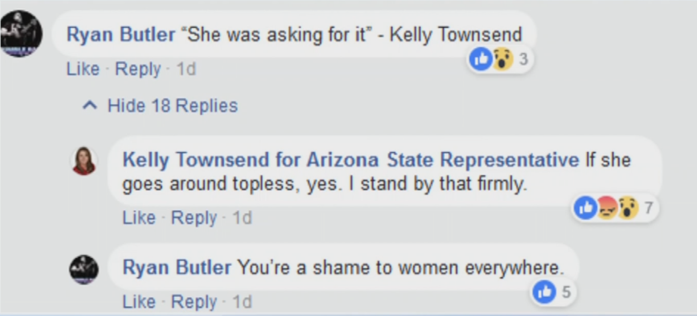Reaction was fierce as some commenters accused Townsend of victim blaming. (Source: Facebook)