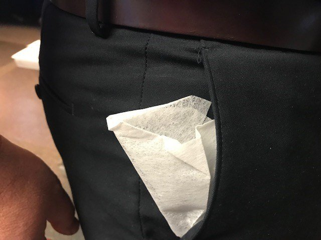 Look cool with dryer sheets in your pockets and stay static free. (Source: Paul Horton)