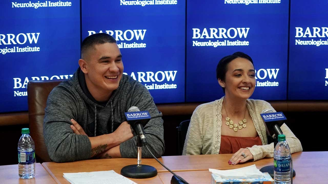 Francisco and Jovanna Calzadillas were all smiles at a news conference on the eve of her release from the hospital. (Source: Barrow Neurological Institute)