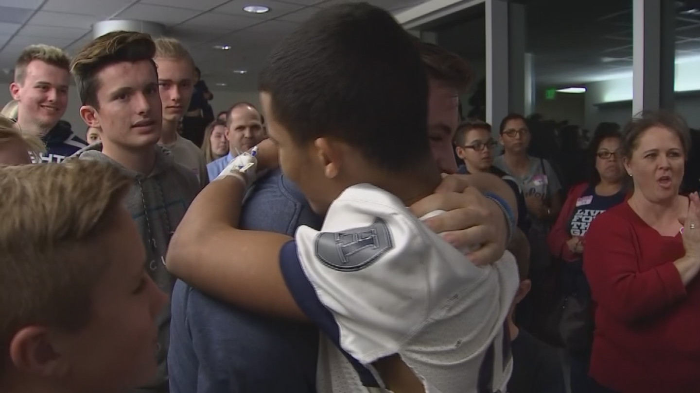 Marcus Edwards, 15,is feeling an incredible amount of support afterjust learning this weekhe has a brain tumor the size of a golf ball in the backof hishead. (Source: 3TV/CBS 5)
