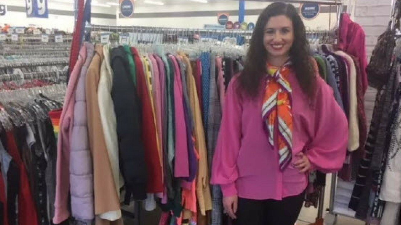 Jessica Greenberg shows off her colorful Goodwill outfit.