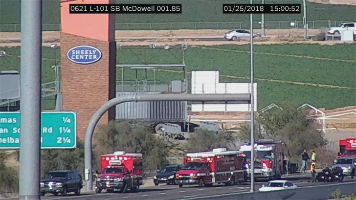 Three people were taken to the hospital after a motorcycle-involved crash. (Source: ADOT)