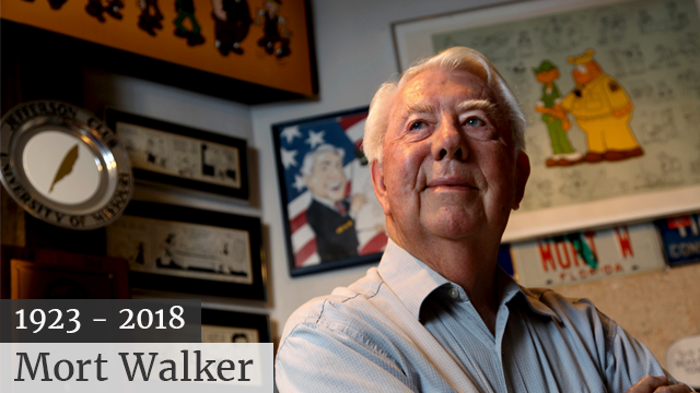 Mort Walker, the artist and author of the Beetle Bailey comic strip, died on January 27, 2018. He was 94. (SOURCE: AP Photo/Craig Ruttle)