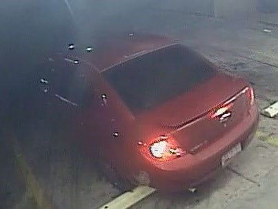 The man quickly fled the scene in what's believed to be a 2007 to 2010 four-door, red Chevy Cobalt. (Source: Silent Witness)