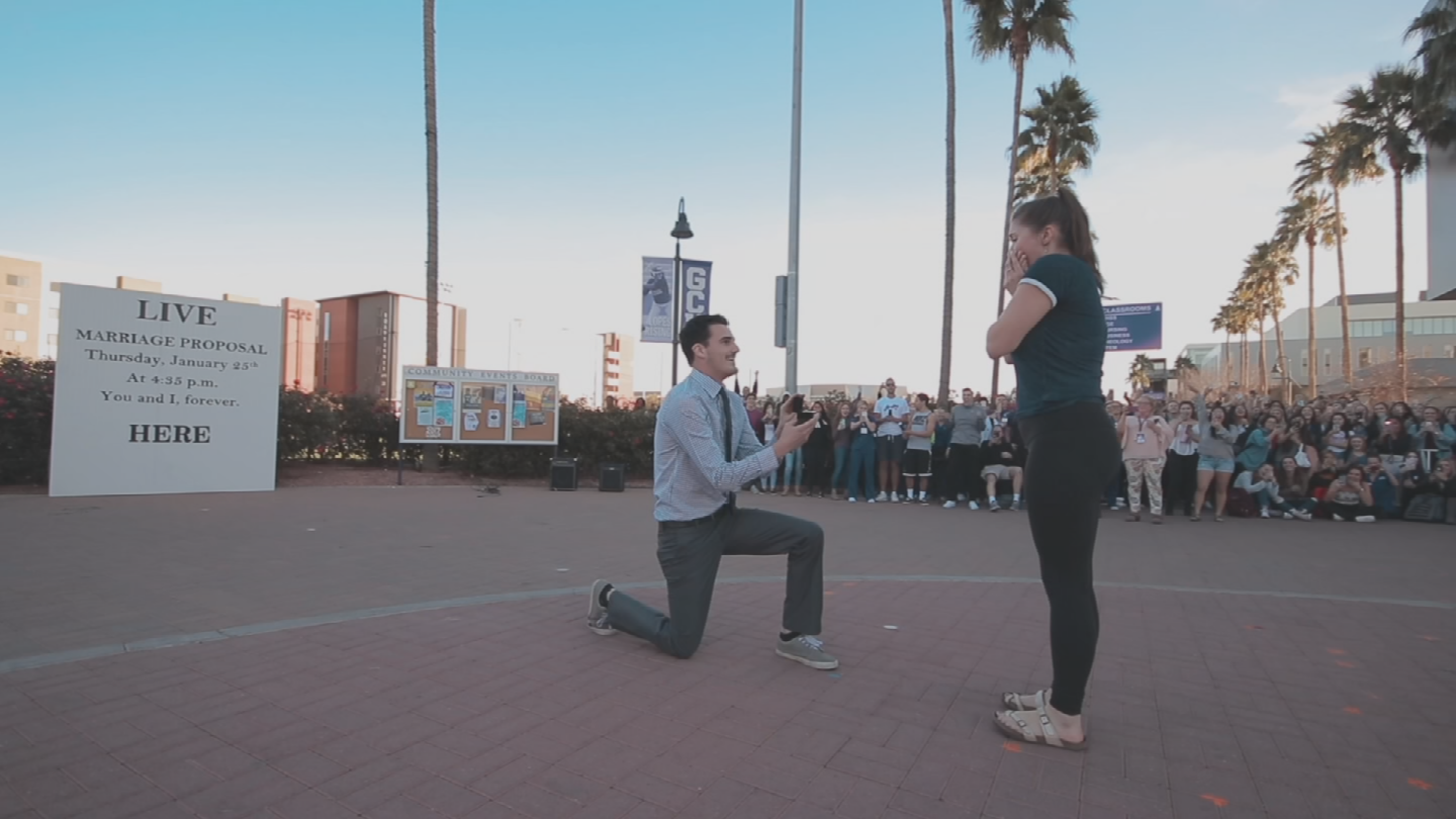 Levi Conlow proposed in front of a huge crowd at GCU and it was all caught on camera. (Source: Grand Canyon University)