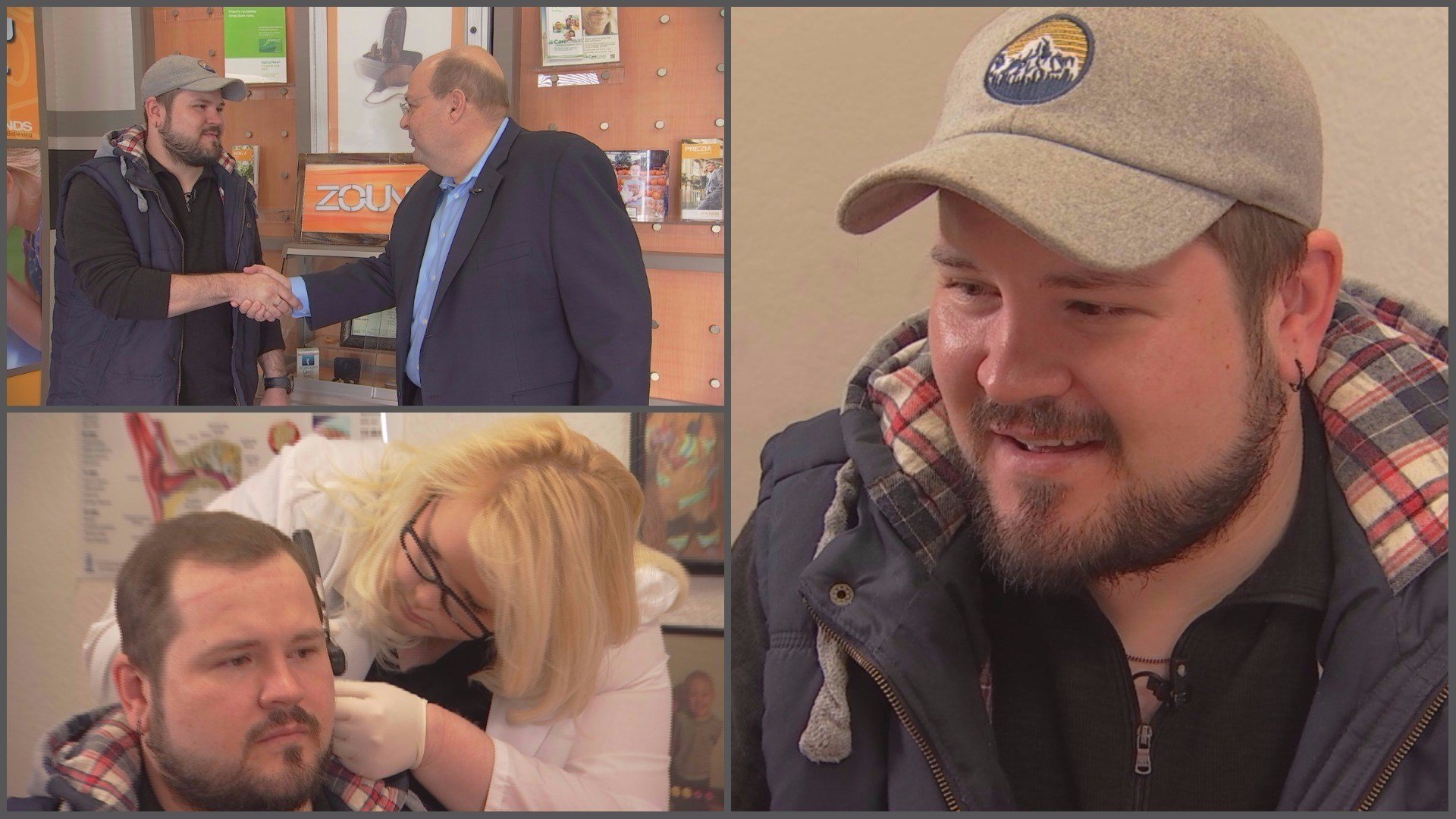 Zounds Hearing founder Sam Thomasson and manager Shauna Lostumo were thrilled to get Brandon set up with top-of-the-line hearing aids. (Source: 3TV/CBS 5)